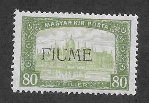 Fiume Scott 15 Mint 80f Overprint on Hungarian stamp 2015 CV $13.00