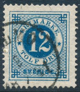 Sweden Scott 32/Facit 32c, 12ö blue Ringtyp p.13, VF Used, dark color