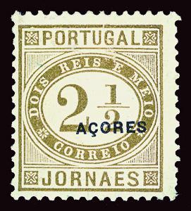 AZORES Scott #P4b 1882 newspaper stamp AÇORES ovpt perf 11½ unused NG