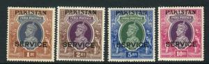 PAKISTAN-1947 A lightly mounted mint part, top value OVPT SERVICE set of 4 Sg 14
