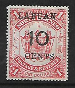 LABUAN 59 MINT HINGED 1895 SURCHARGED STAMP