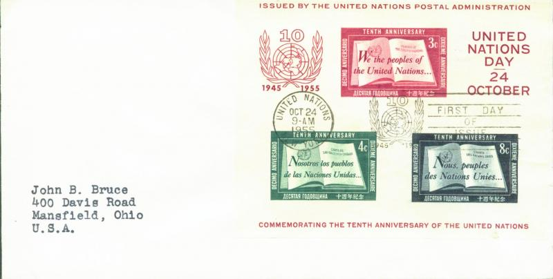 U.N. New York Scott 38 FDC