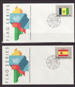 UN New York 528-543 Flags 1988 Geneva S/16 U/A FDC