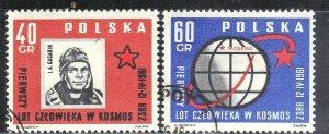 POLAND SC# 974-75 **CTO** 1961  SPACE   SEE SCAN