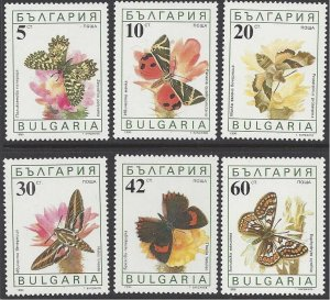 Bulgaria #3551-56a MHN set c/w ss, various butterflies, issued 1990