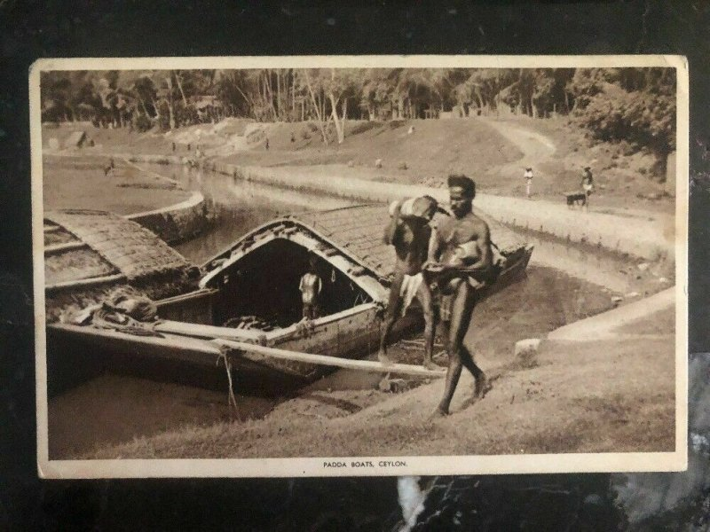 1940s Ceylon Censored RPPC Postcard cover to Surrey England Padda Boats