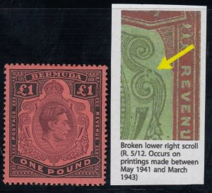 Bermuda SG 121ce, MLH, Broken Lower Right Scroll variety