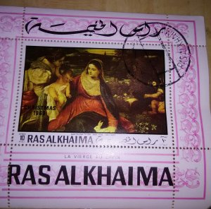 Bartolom Titian paintng featued on Stamp from Ras Al Khaima  Christmas 1969