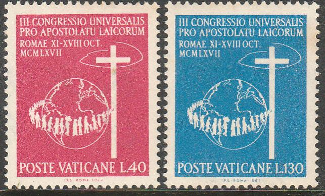 VATICAN 453-454, CONGRESS OF CATHOLIC LAYMEN. MINT, NH. F-VF. (411)