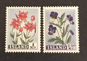 Iceland 1958 #309-10 MNH, CV $.75