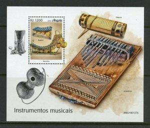 ANGOLA 2019 MUSICAL INSTRUMENTS  SOUVENIR SHEET MINT NEVER HINGED
