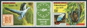 Gabon C215-C216a green label,MNH.Michel 682-683. ESSEN-1978.Gorilla,Stork,Parrot