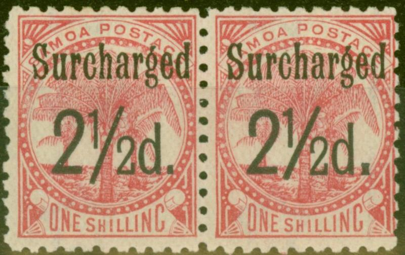Samoa 1898 2 1/2d on 1s Dull Rose-Carmine SG86 Fine Lightly Mtd MInt Pair