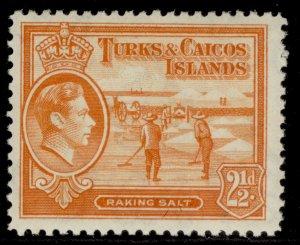 TURKS & CAICOS ISLANDS GVI SG199, 2½d yellow-orange, NH MINT. Cat £13.