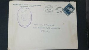 L) 1940 VENEZUELA, PERFIN, CRISTOBAL MENDOZA, BLUE, AIRMAIL, CIRCULATED COVER FR