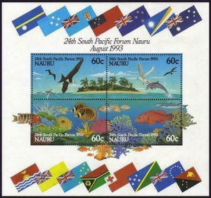 HERRICKSTAMP NAURU Sc.# 405B 24th South Pacific Forum S/S