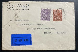 1925 Lombard England Airmail Cover To Geneva Switzerland