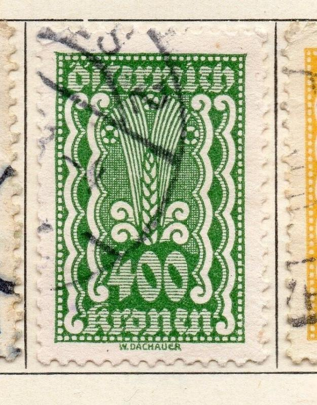 Austria 1922 Early Issue Fine Used 400kr. 114593