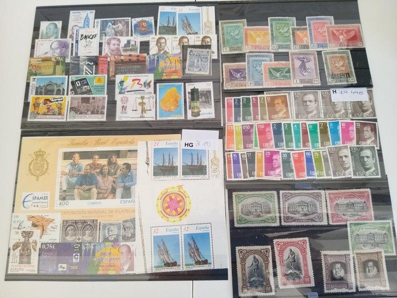 Lot Spain 1916-2001 used/unused + minisheet 1996