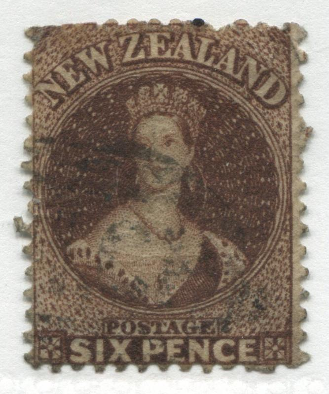 New Zealand QV Chalon Head 1864 6d red brown lightly used