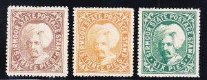 India - Sirmoor 3-5 Mint OG 1885-88 Raja Sir Shamsher Prakash Issues Very Fine