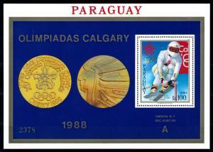 [92363] Paraguay 1988 Olympic Games Calgary Skiing A Sheet MNH