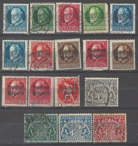 COLLECTION LOT # 5367 BAVARIA 17 STAMPS 1914+ CLEARANCE CV+$24
