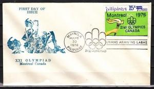 Philippines, Scott cat. 1297. Montreal Olympics o/p issue. First day cover.