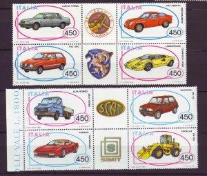 Z533 Jlstamps 1985 & 6  italy sets mnh bkl/4  #1623a,1684a cars autos
