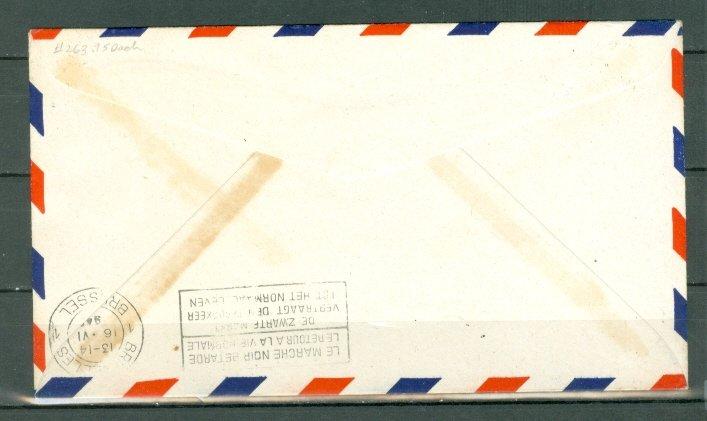 NEWFOUNDLAND - BELGIUM JUNE 1946 1st PAN AM CLIPPER AIRMAIL FLIGHT COVER  #263