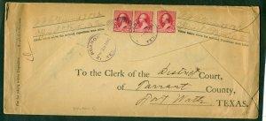U.S. #210 x 3 on ROANOKE TEXAS legal size envelope