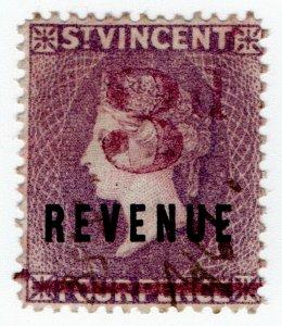 (I.B) St Vincent Revenue : Duty Stamp 3d on 4d OP