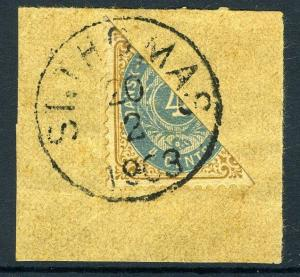 DANISH WEST INDIES-1903 4c Brown & Ultramarine Bisected to pay 2c rate FINE USED