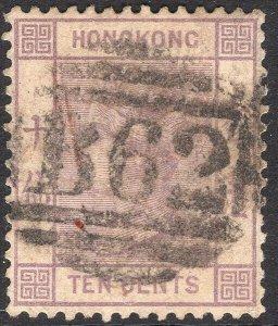 HONG KONG-1882 10c Dull Mauve Sg 36 AVERAGE USED V49736