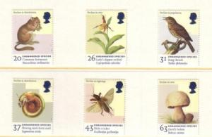 Great Britain Sc 1785-90 1998 Endangered Species stamp set mint NH