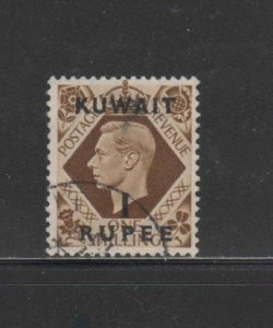 KUWAIT #79  1948  1r on 1sh   KING GEORGE VI SURCHARGED   F-VF  USED  m