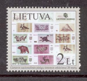 Lithuania Sc 983 2012 Currency stamp mint NH