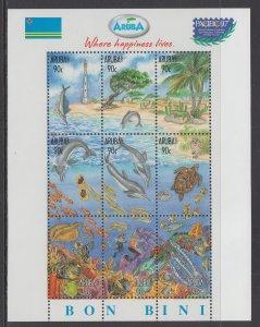 Aruba 150 Marine Life Souvenir Sheet MNH VF