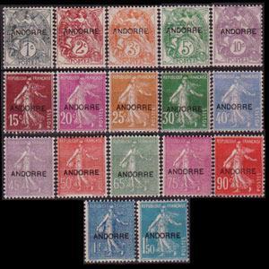 ANDORRA FR. 1931 - Scott# 1-17 Sower Opt. Set of 17 LH