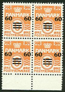 FAROE ISLANDS #6 60/6ore Surcharge, Margin Blk of 4 NH