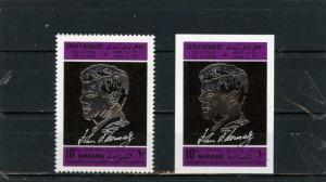MANAMA 1968 FAMOUS PEOPLE/JOHN KENNEDY SET OF 2 STAMPS PERF. & IMPERF. MNH