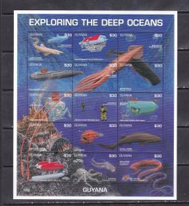 Guyana 1996 fauna marine life fish exploring the deep oceans klb MNH