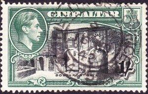 GIBRALTAR 1938 KGVI 1/- Black & Green SG127b Used
