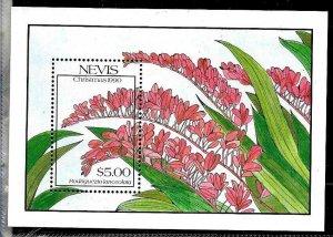 #8170 NEVIS 1990 FLOWERS FLORA S/SHEET YV BL 32 MNH