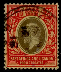 EAST AFRICA and UGANDA GV SG50b, 25c black and red/yellow, FINE USED. Cat £11.