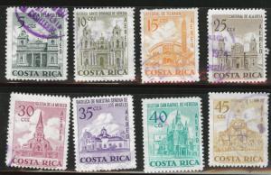 Costa Rica Scott C561-568 used from 1973  Airmail Church set