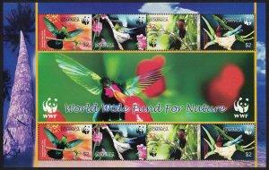 Dominica Birds WWF Caribs MS SG#MS3416 MI#3634-3637 SC#2520 a-d