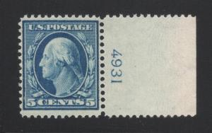 US#335 Blue - Margin Plate# Single - Mint - Unused - O. G. - N. H.
