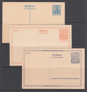 Germany H&G 122,144,153 unused. 1920-22 Postal Reply Cards, 3 different, VF