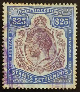 Malaya  Straits Settlements 1912 KGV $25 MCCA SG#213 CV £650 used M1286